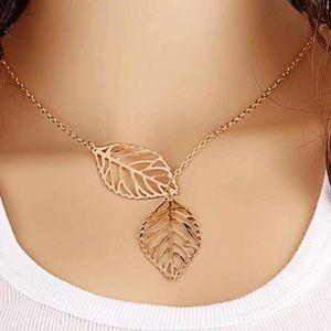 Dainty Leaf Lariat Gold Necklace